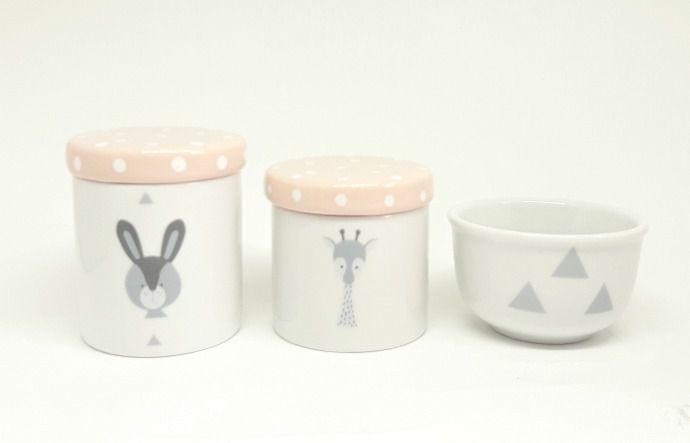 Kit Higiene Bebê Porcelana Escandinavo |Coelho e Girafa | Geométrico | Rosa Antigo com Poá