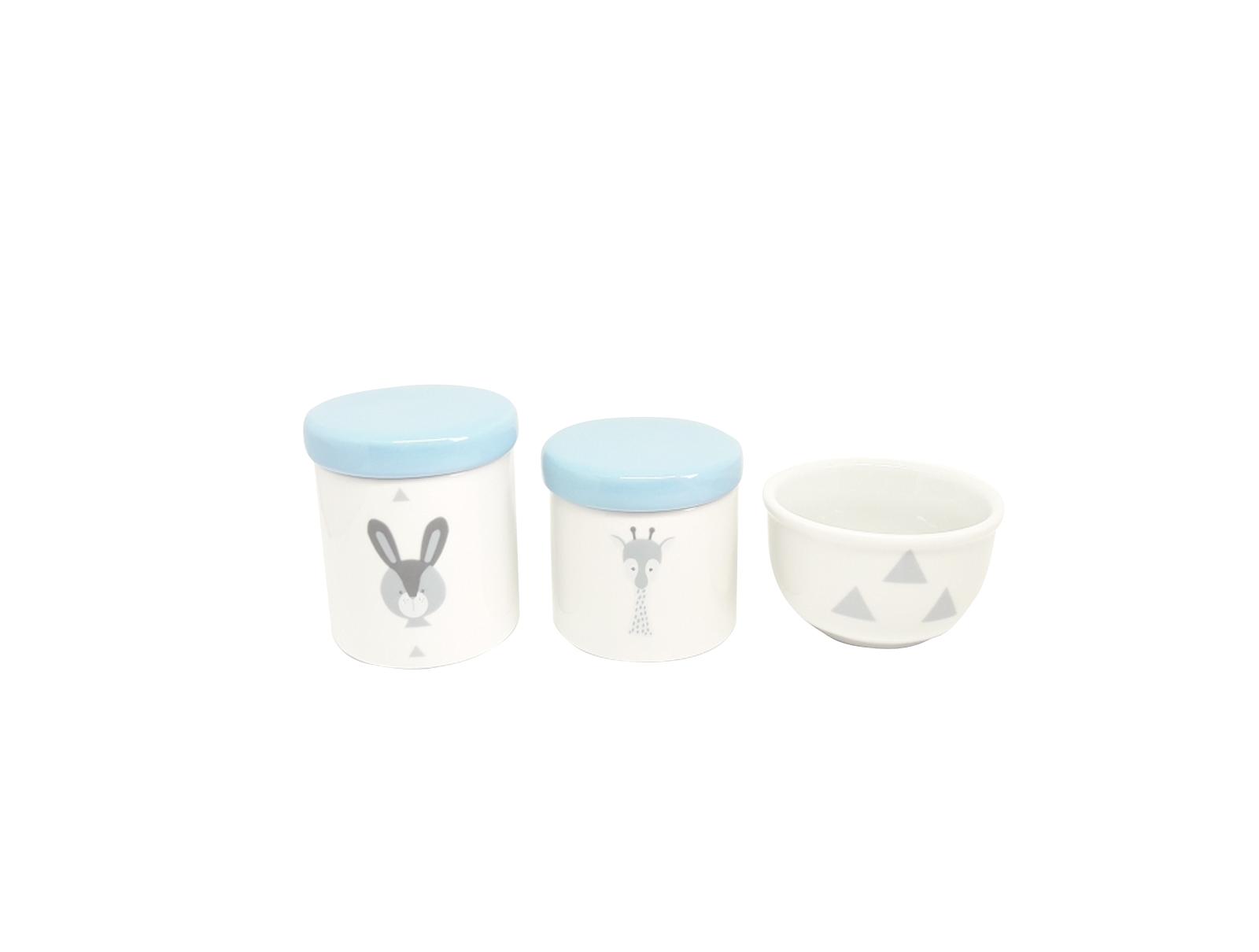 Kit Higiene Bebê Porcelana Escandinavo |Coelho e Girafa | Geométrico| Tampa Azul