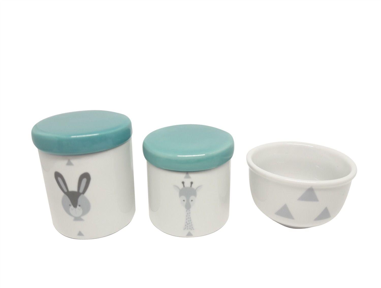Kit Higiene Bebê Porcelana Escandinavo |Coelho e Girafa| Geométrico | Tampas Esverdeadas