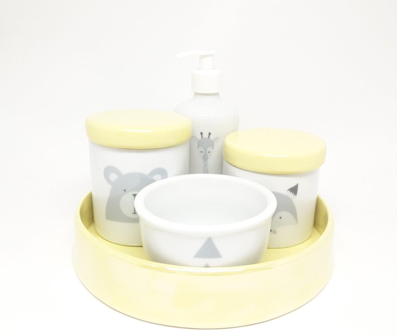 Kit Higiene Bebê Porcelana Escandinavo com Bandeja / Amarelinho