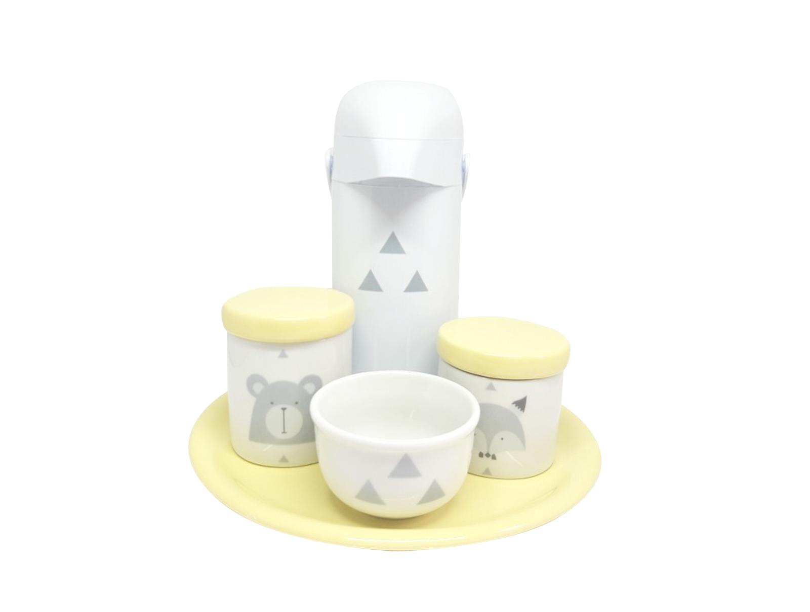 Kit Higiene Bebê Porcelana Escandinavo com Bandeja e Garrafa Decorada | Amarelo|