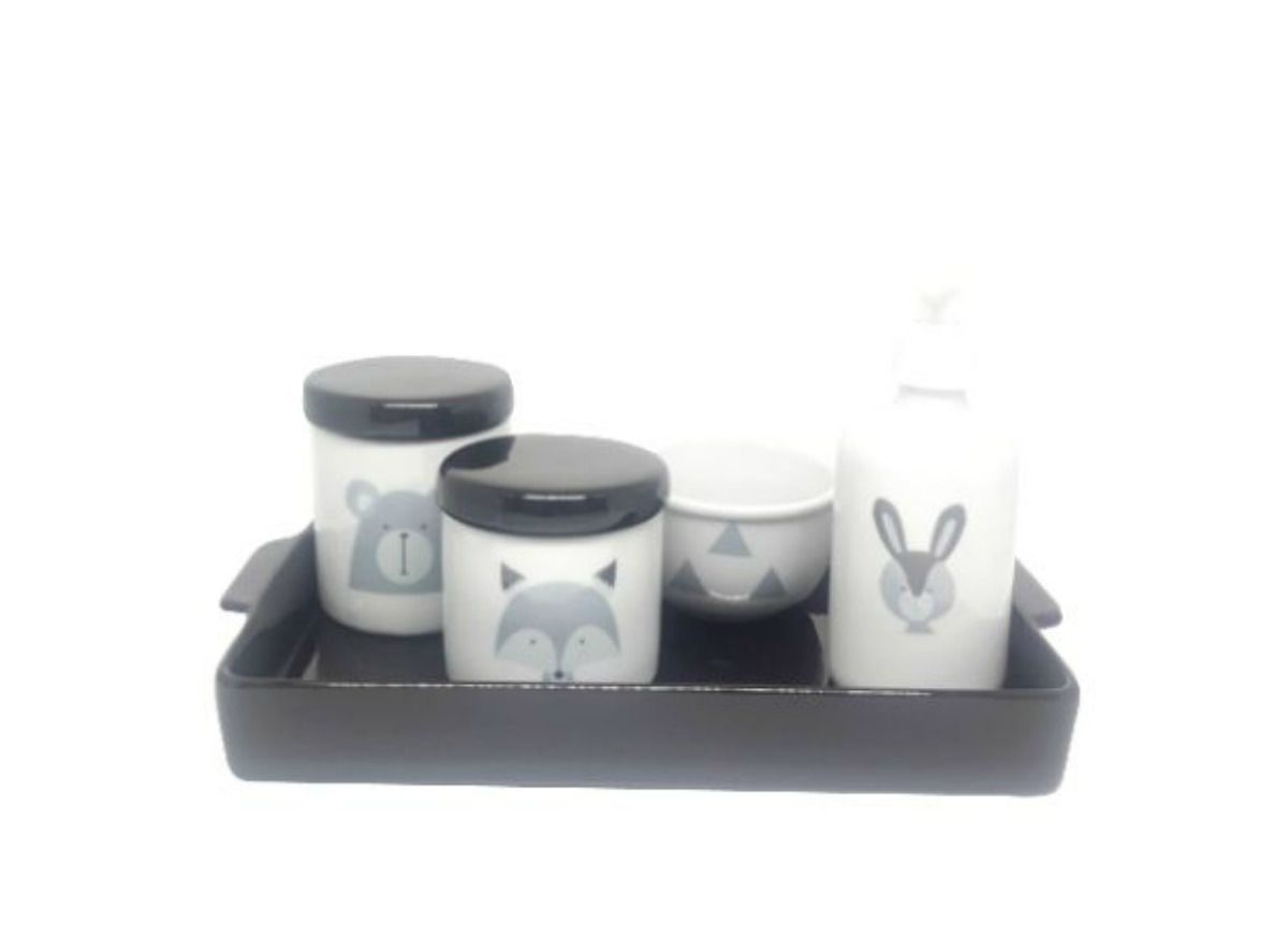 Kit Higiene Bebê Porcelana Escandinavo  com Bandeja Preto
