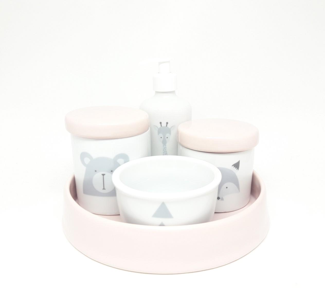 Kit Higiene Bebê Porcelana Escandinavo com Bandeja / Rosa Claro