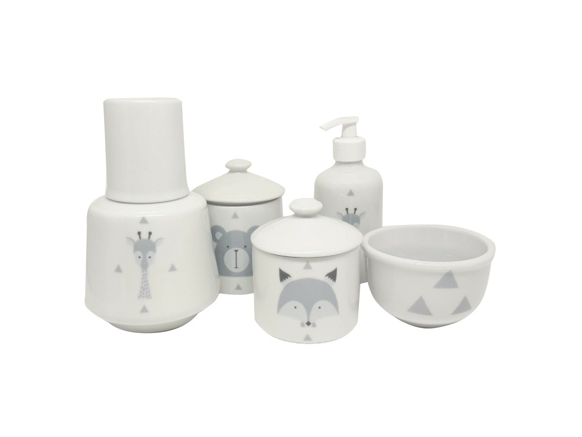 Kit Higiene Bebê Porcelana Escandinavo Com Moringa 750 ml