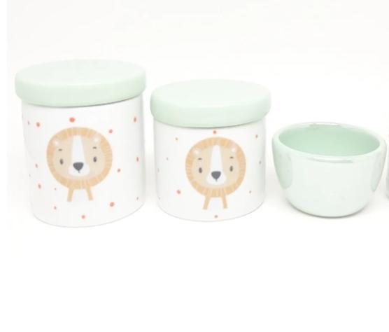 Kit Higiene Bebê Porcelana Escandinavo Leão Leãozinho Verde