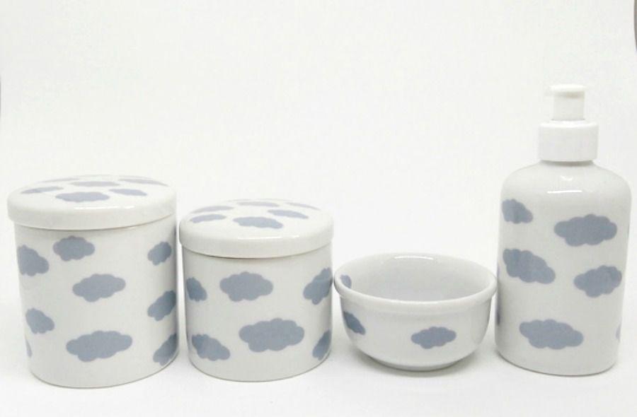 Kit Higiene Bebê Porcelana |Nuvem Cinza |4 peças