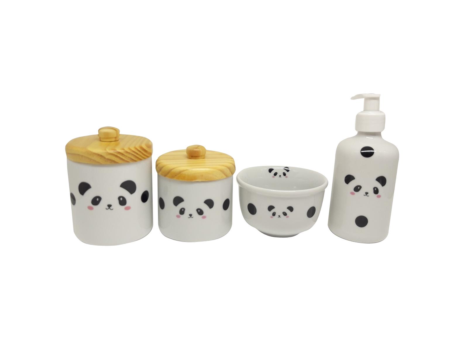 Kit Higiene Bebê Porcelana Escandinavo |Panda|4 peças | Tampas Pinus