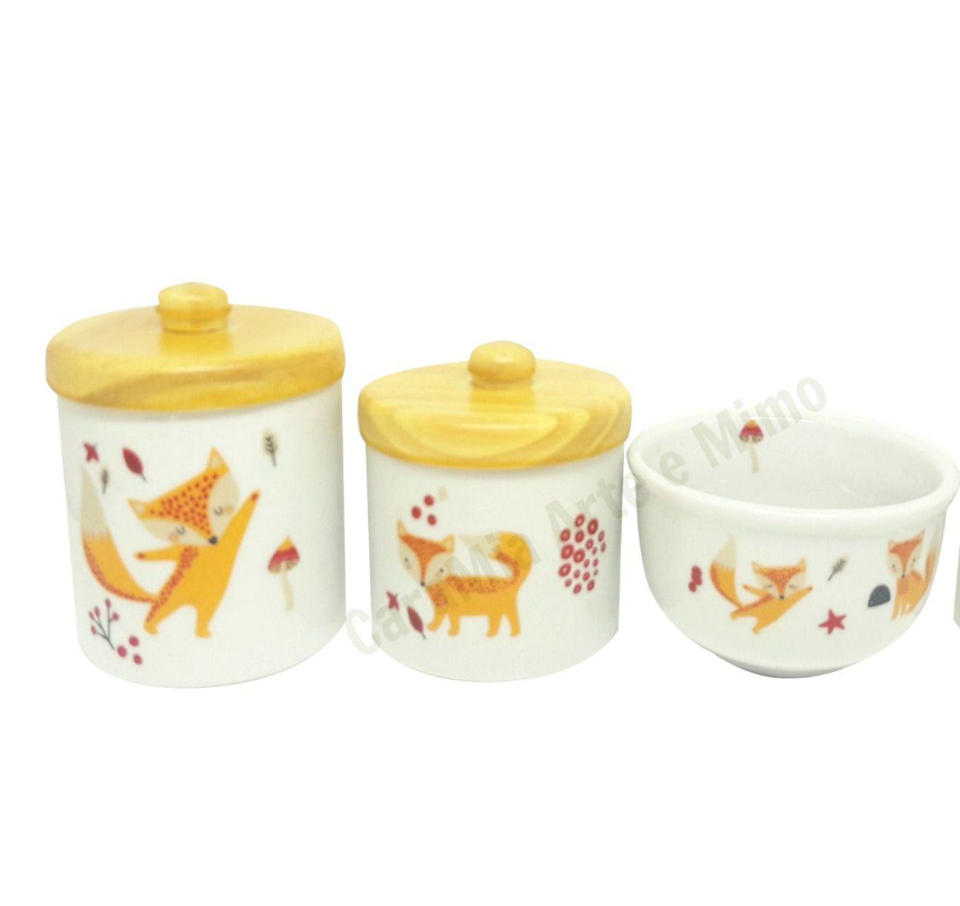 Kit Higiene Bebê Porcelana Escandinavo |Raposa laranja | Pinus