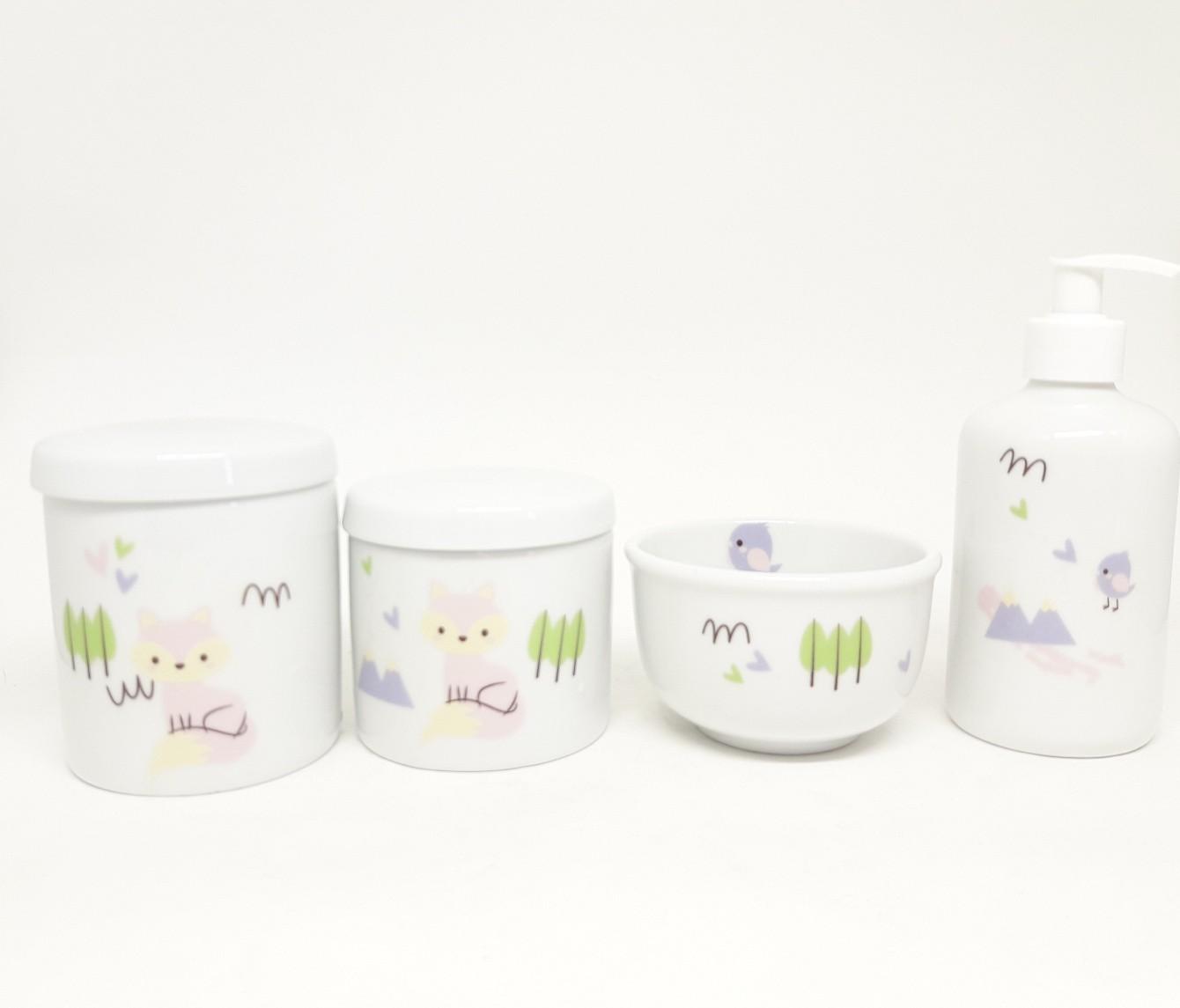 Kit Higiene Bebê Porcelana Escandinavo Raposa Rosa 4 peças