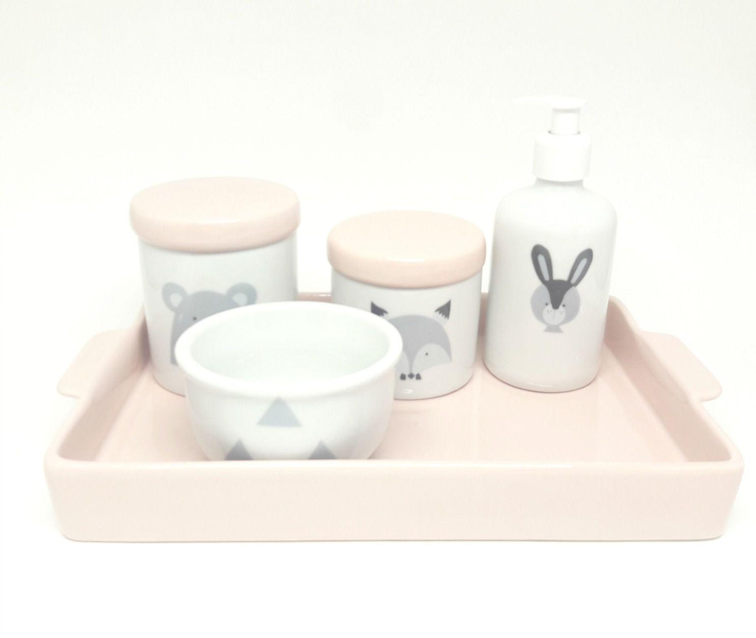 Kit Higiene Bebê Porcelana Escandinavo Rosa Antigo Urso e Raposa | Bandeja Cerâmica Retangular 20 por 30 cm