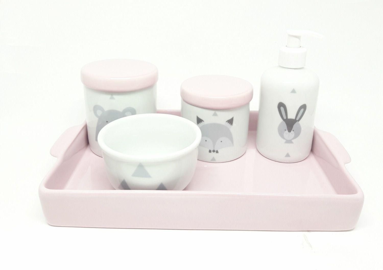 Kit Higiene Bebê Porcelana Escandinavo Rosa Bebê Urso e Raposa | Bandeja Cerâmica Retangular 20 por 30 cm