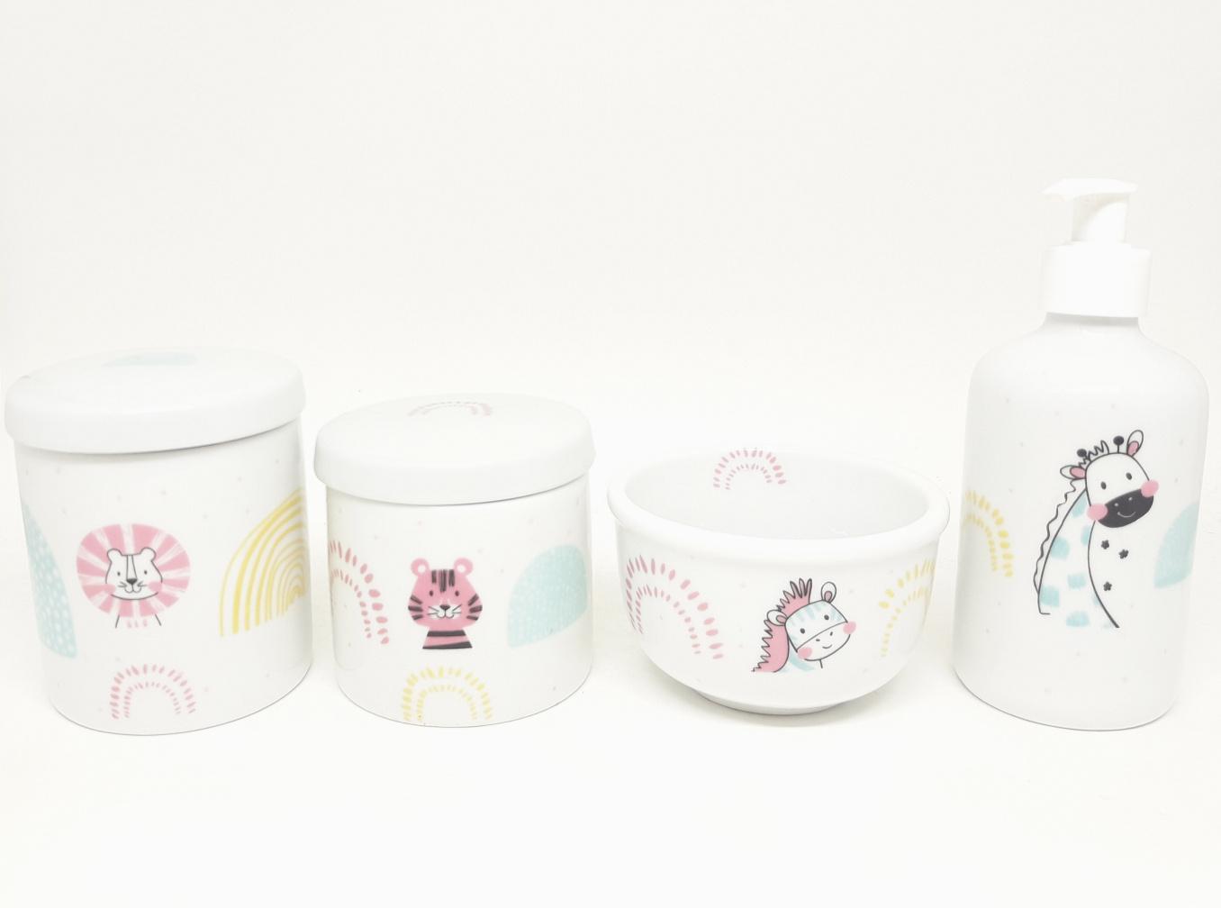 Kit Higiene Bebê Porcelana Escandinavo Safari Bichinhos  Floresta Meninas