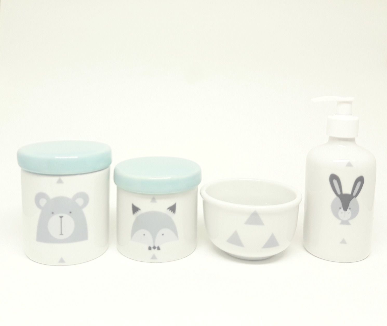 Kit Higiene Bebê Porcelana Escandinavo |Urso e Raposa e Coelho| 4 peças | Tampas Azuis