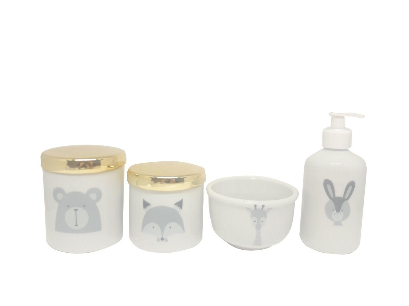 Kit Higiene Bebê Porcelana Escandinavo |Urso & Raposa & Coelho & Girafa | Tampas Douradas
