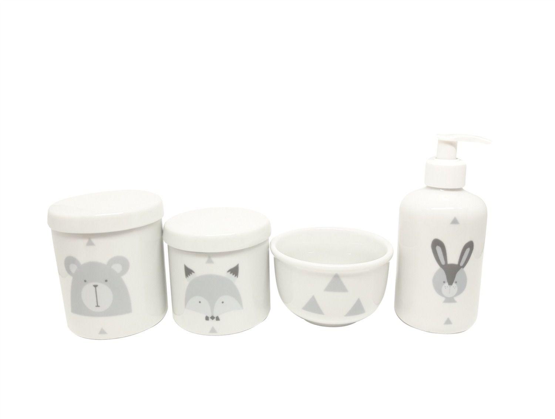 Kit Higiene Bebê Porcelana Escandinavo |Urso e Raposa e Coelho| Geométrico | 4 peças