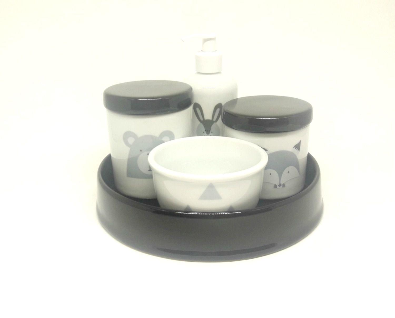 Kit Higiene Bebê Porcelana Escandinavo |Urso e Raposa e Coelho| Geométrico | Com Bandeja