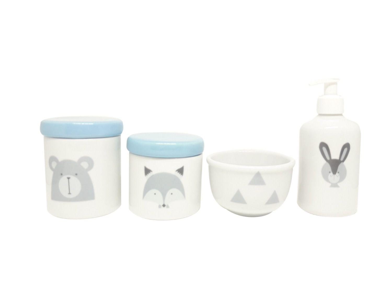 Kit Higiene Bebê Porcelana Escandinavo |Urso & Raposa & Coelho| Tampa Azul Bebê