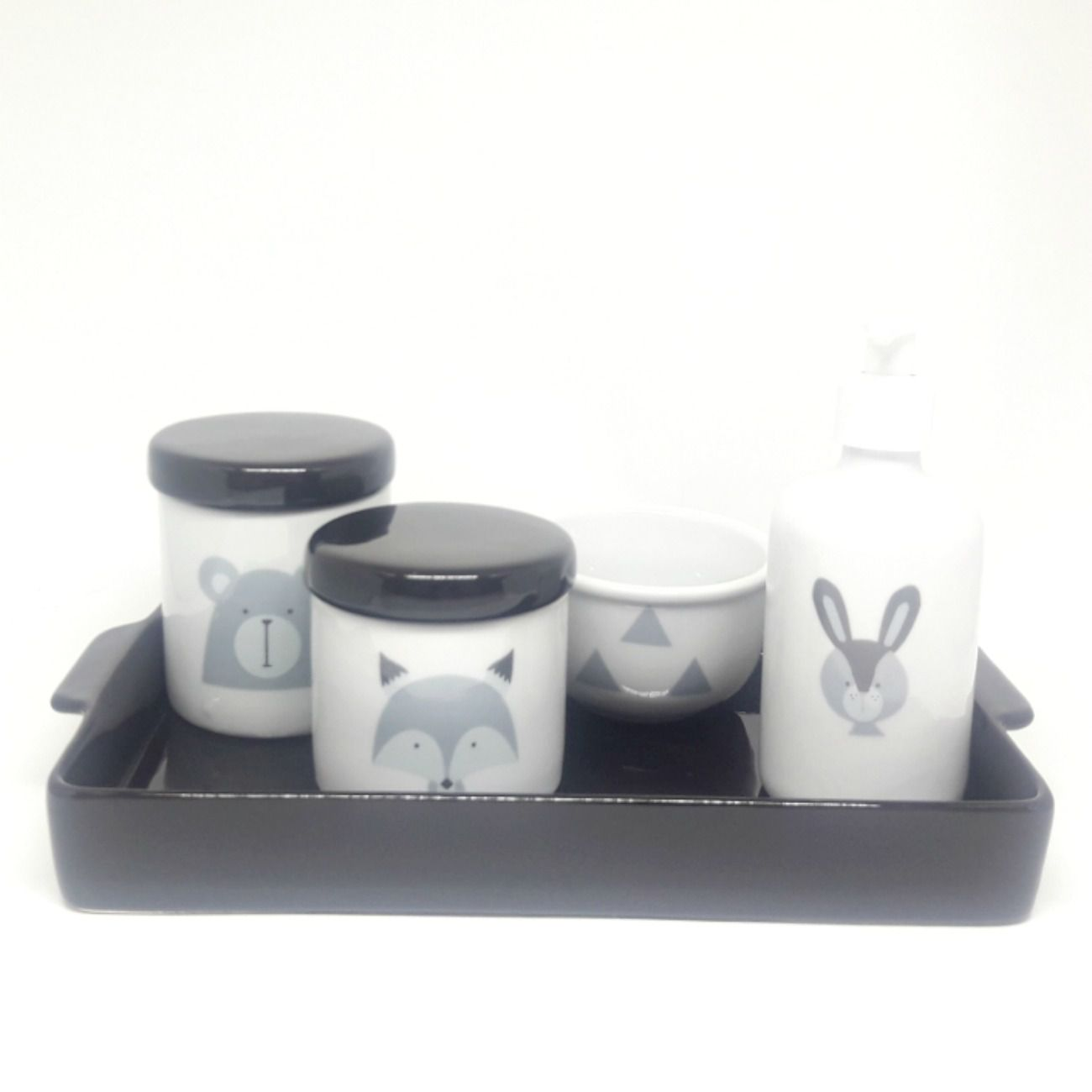 Kit Higiene Bebê Porcelana Escandinavo |Urso e Raposa & Coelho| Tampas e Bandeja Preta