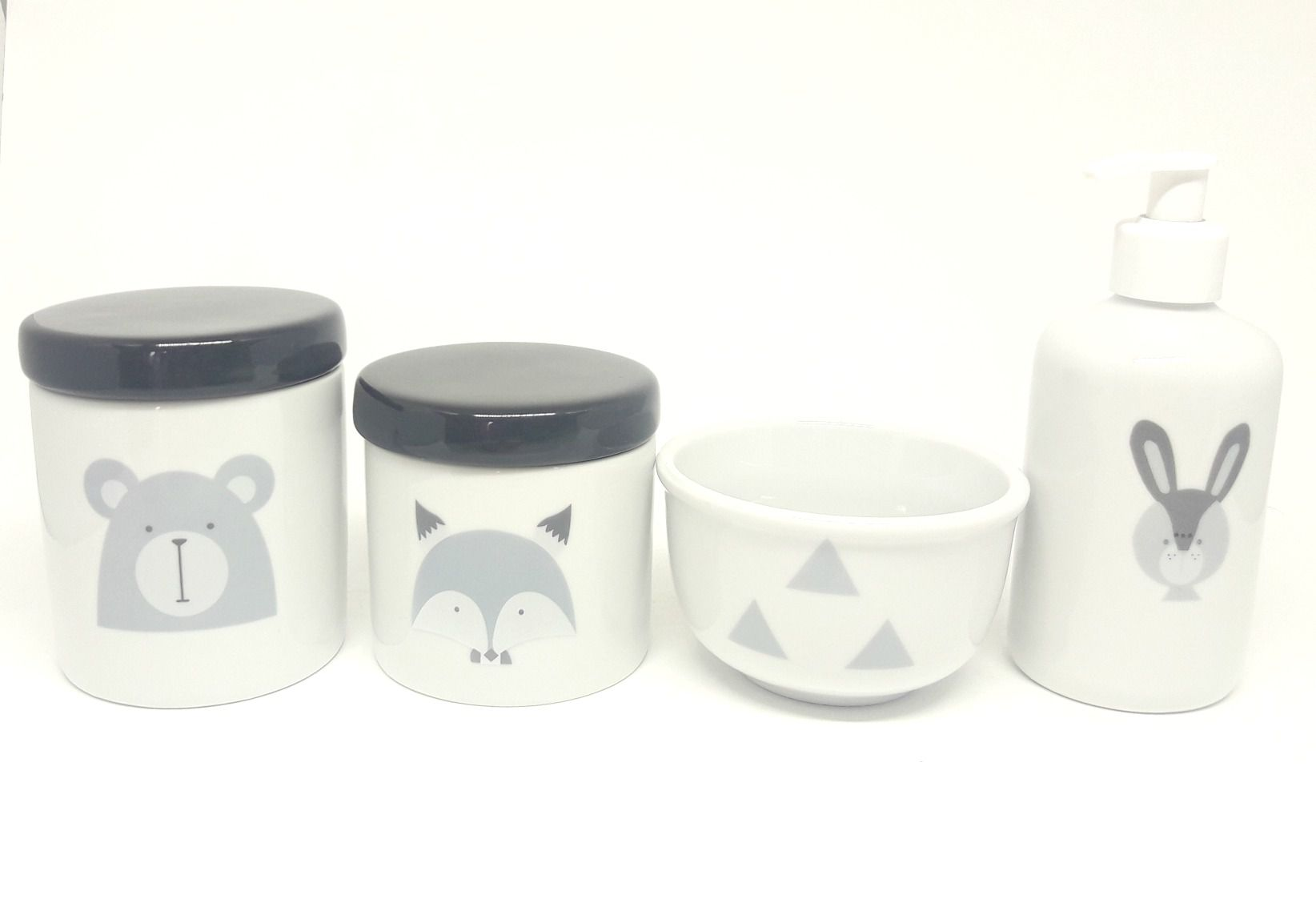 Kit Higiene Bebê Porcelana Escandinavo |Urso e Raposa e Coelho| Tampas Pretas