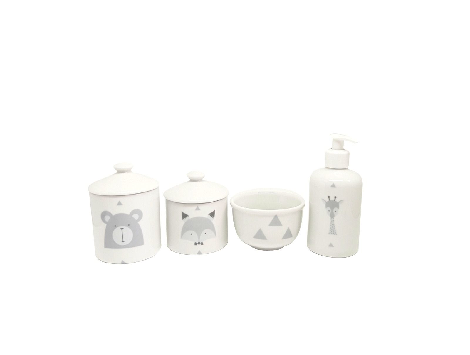 Kit Higiene Bebê Porcelana Escandinavo |Urso e Raposa & Girafa| 4 peças