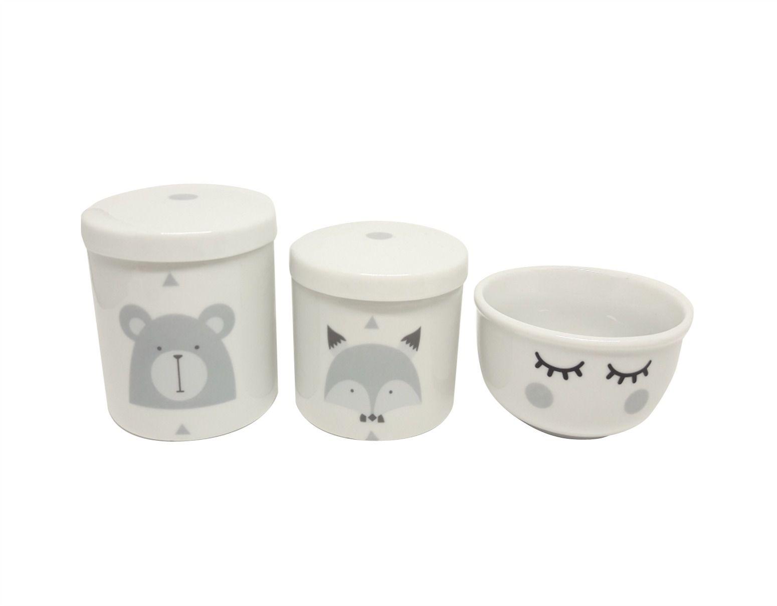 Kit Higiene Bebê Porcelana Escandinavo |Urso e Raposa e Olhinhos |