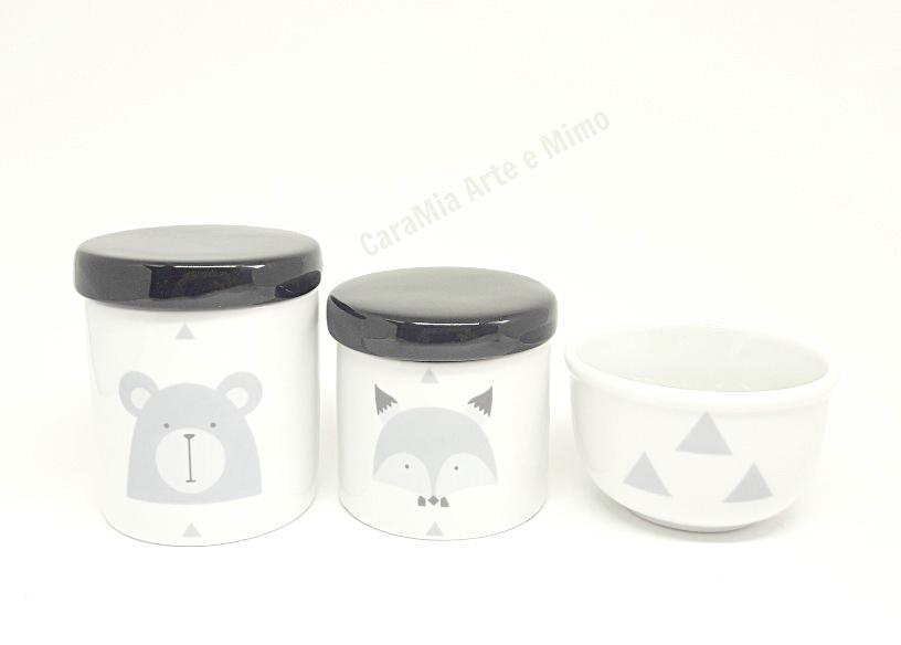 Kit Higiene Bebê Porcelana Escandinavo |Urso e Raposa | Geométrico | Tampa Preta