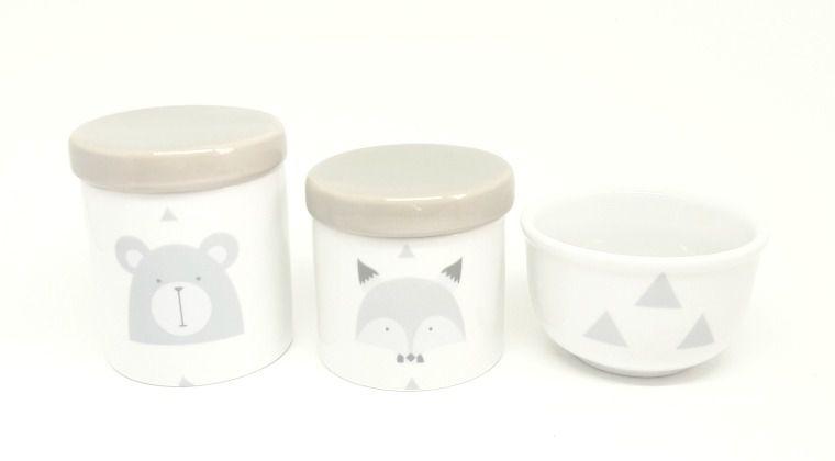 Kit Higiene Bebê Porcelana Escandinavo |Urso e Raposa | Geométrico | Tampa Cinza