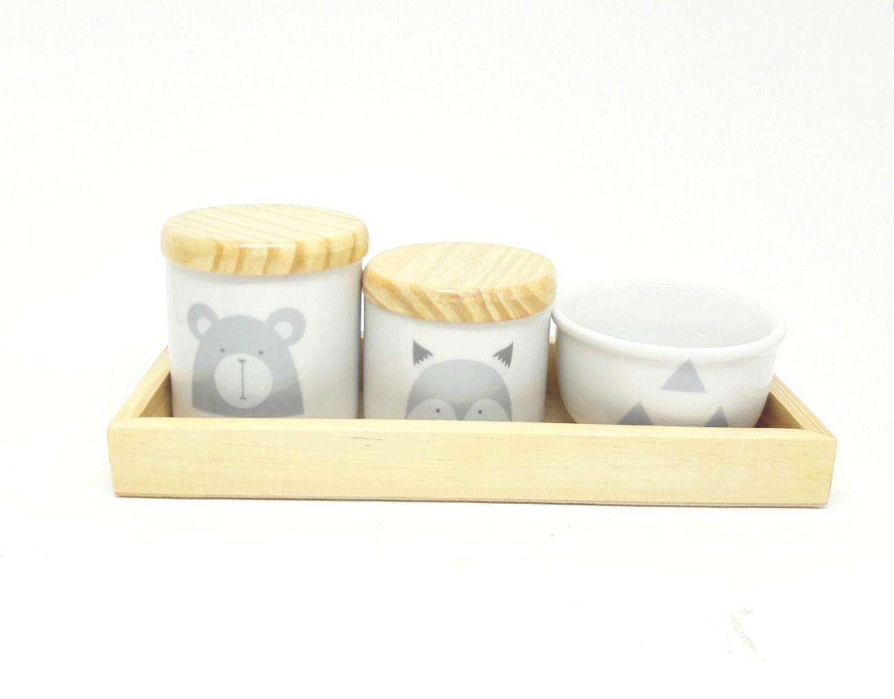Kit Higiene Bebê Porcelana Escandinavo |Urso e Raposa | Geométrico | Madeira Pinus e MDF com Bandeja