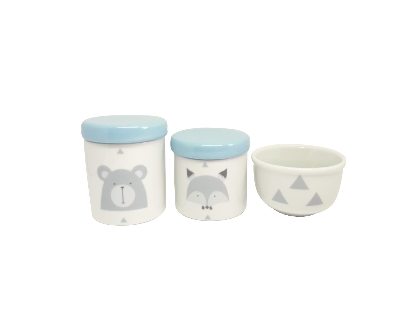 Kit Higiene Bebê Porcelana Escandinavo |Urso e Raposa | Geométrico | Tampa Azul