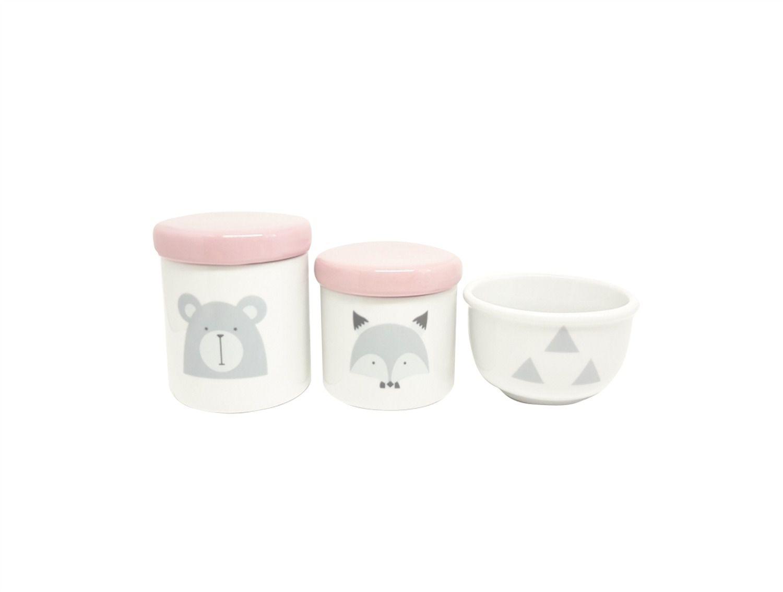 Kit Higiene Bebê Porcelana Escandinavo |Urso e Raposa | Geométrico | Tampa Rosa Bebê
