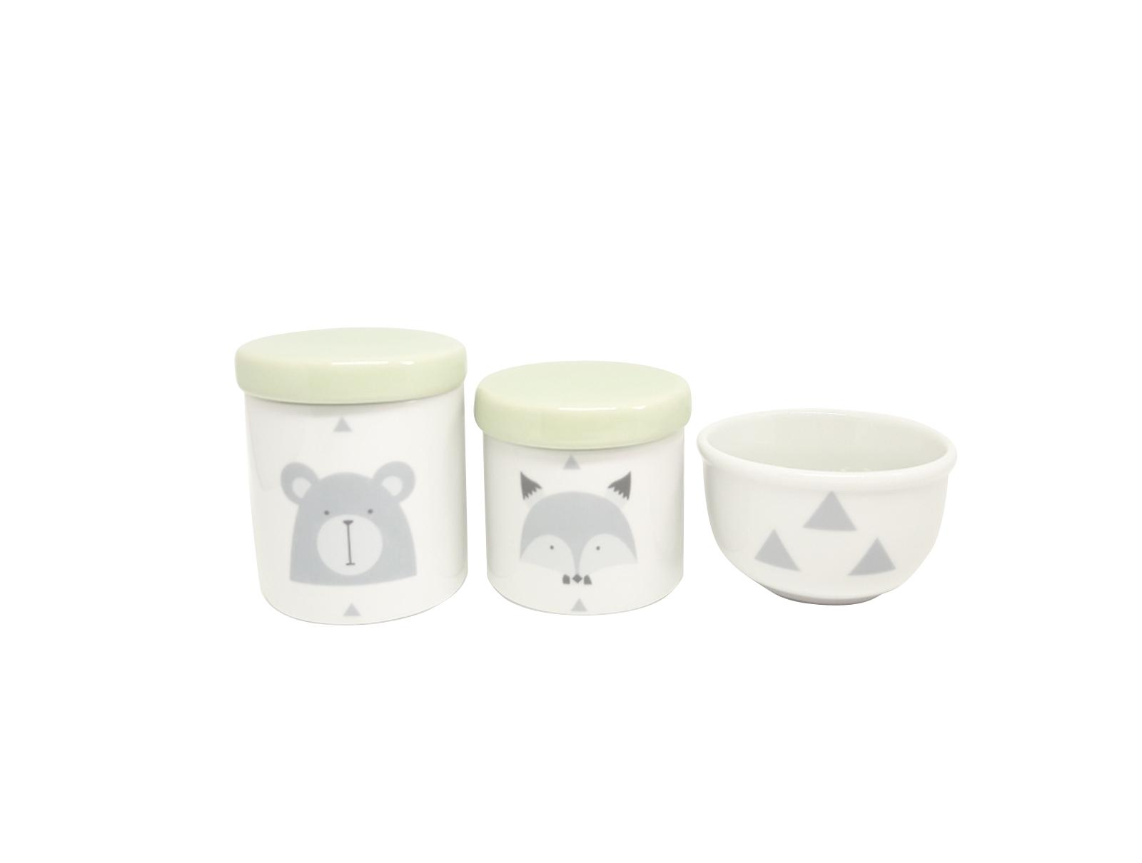 Kit Higiene Bebê Porcelana Escandinavo |Urso e Raposa | Geométrico| Tampa Verde