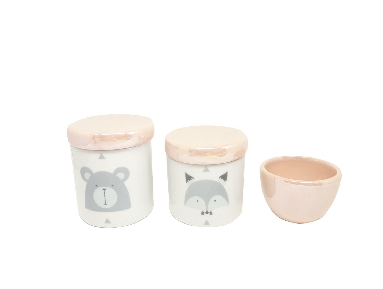 Kit Higiene Bebê Porcelana Escandinavo |Urso e Raposa | Geométrico | Tampas e Molhadeira Perolizadas