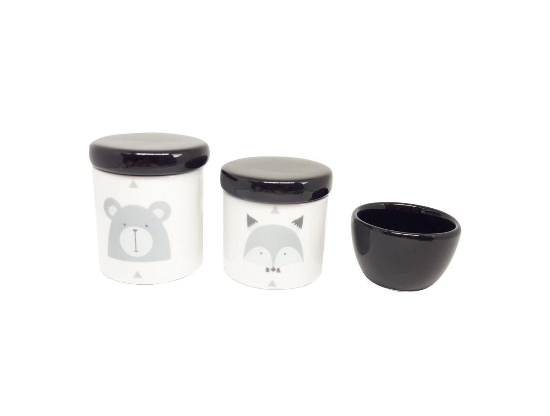 Kit Higiene Bebê Porcelana Escandinavo |Urso e Raposa | Geométrico| Tampas e Molhadeira Preta