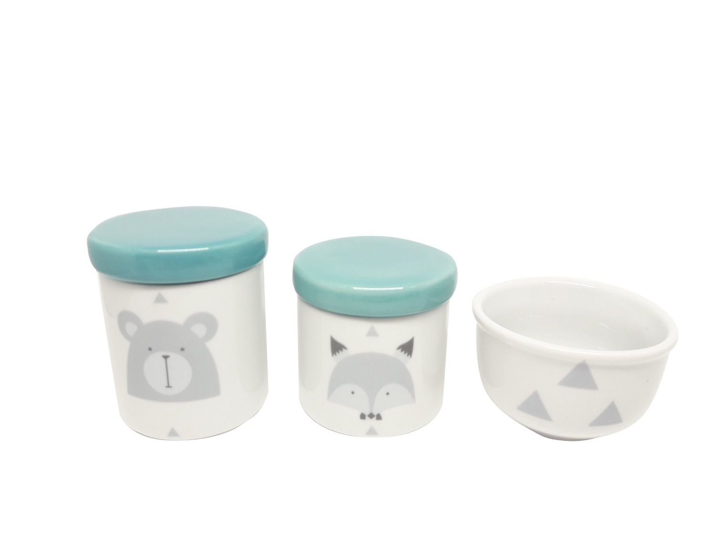 Kit Higiene Bebê Porcelana Escandinavo |Urso e Raposa | Geométrico | Tampas Esverdeadas