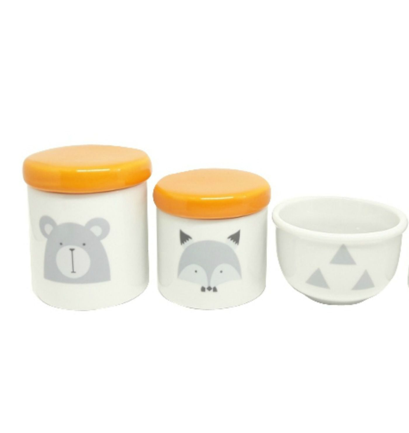 Kit Higiene Bebê Porcelana Escandinavo |Urso e Raposa | Geométrico | Tampas Laranjas