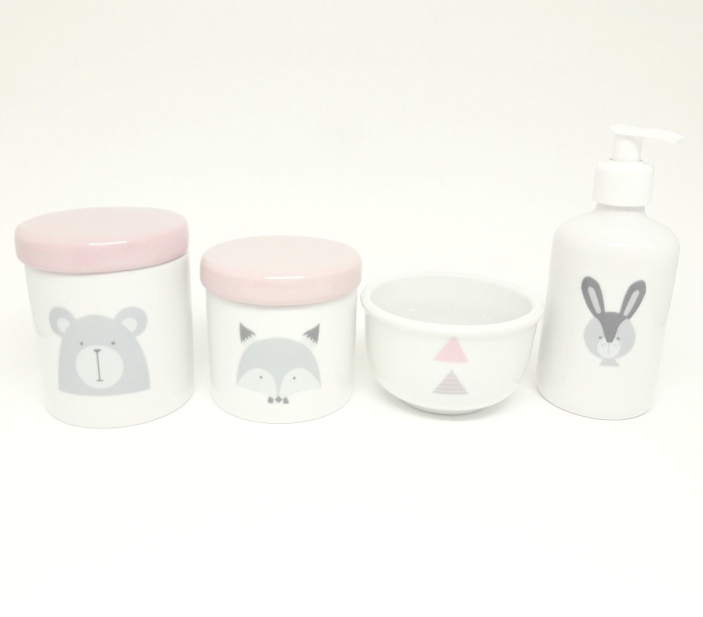 Kit Higiene Bebê Porcelana Escandinavo |Urso e Raposa | Molhadeira Rosa e Cinza