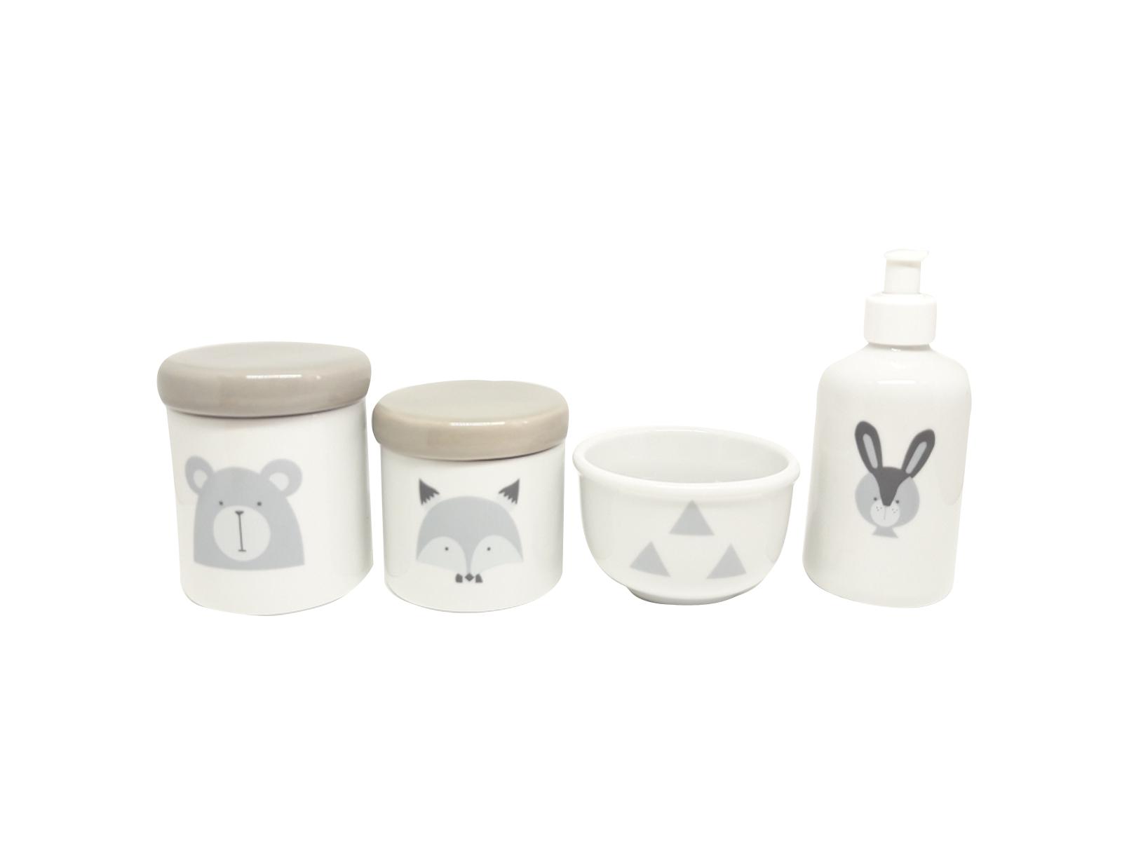 Kit Higiene Bebê Porcelana Escandinavo |Urso e Raposa | Tampas Cinzas
