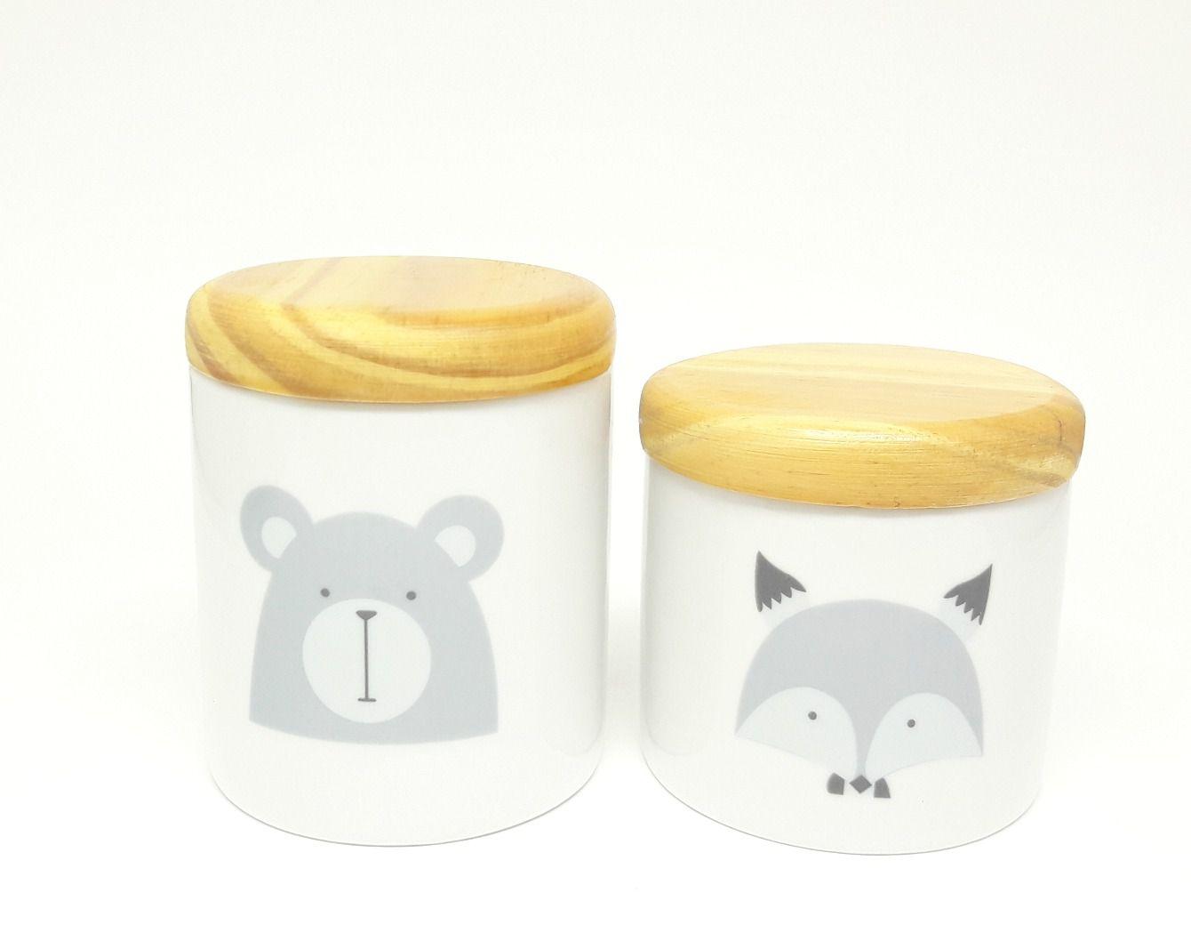 Kit Higiene Bebê Porcelana Escandinavo |Urso e Raposa |Tampas em madeira pinus