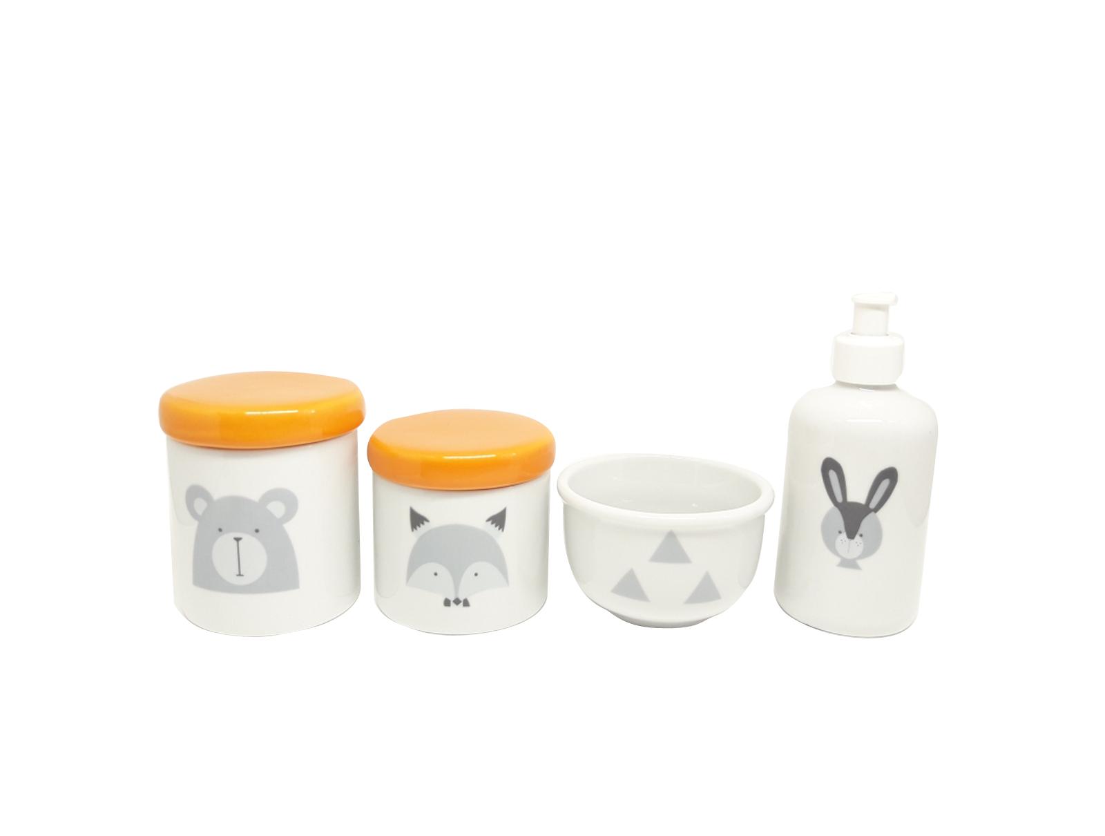 Kit Higiene Bebê Porcelana Escandinavo |Urso e Raposa | Tampas Laranjas