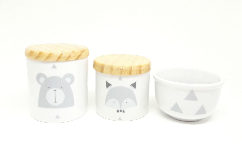 Kit Higiene Bebê Porcelana Escandinavo |Urso e Raposa | Tampas Madeira Pinus| 3 peças