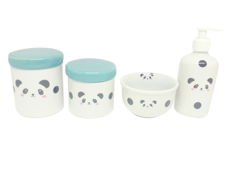 Kit Higiene Bebê Porcelana Escandinavo |Urso Panda | Tampa verde esmeralda