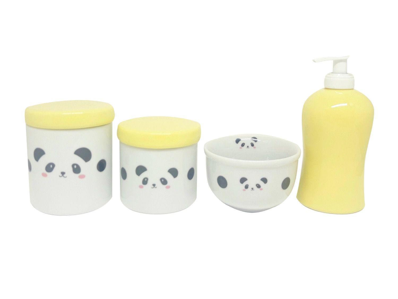 Kit Higiene Bebê Porcelana Escandinavo |Urso Panda | Tampas amarelas