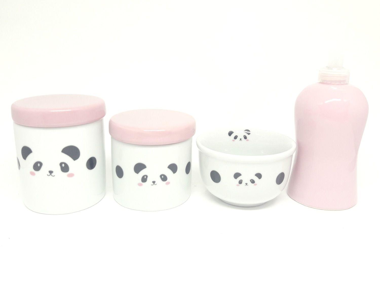 Kit Higiene Bebê Porcelana Escandinavo |Urso Panda | Tampas rosas