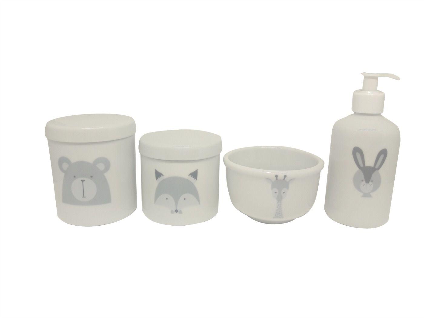 Kit Higiene Bebê Porcelana Escandinavo |Urso Raposa Coelho e Girafa
