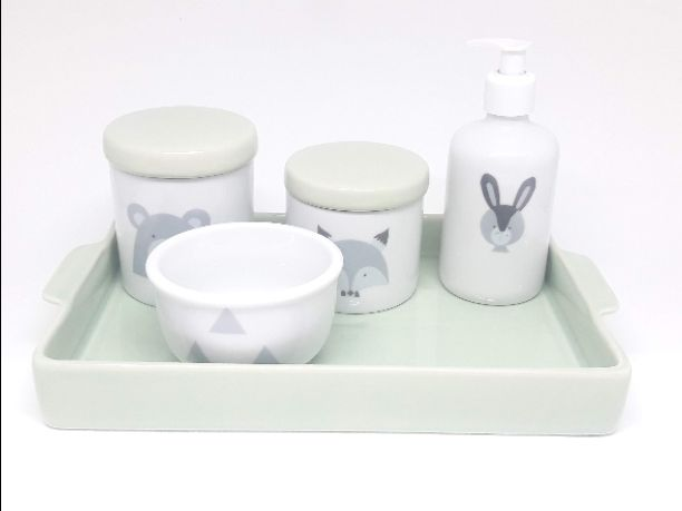Kit higiene bebê porcelana escandinavo verde claro com bandeja