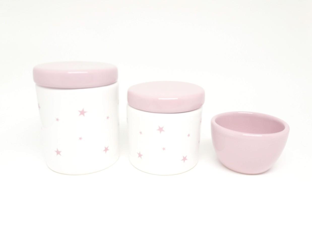 Kit higiene bebê porcelana Estrelas e Estrelinhas