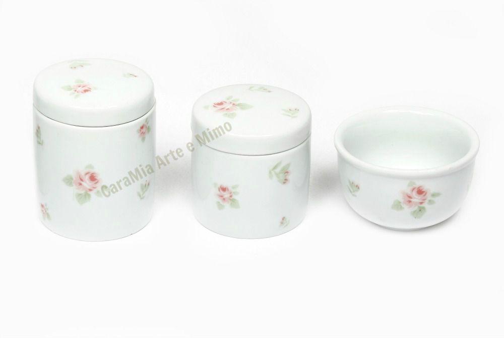Kit Higiene Bebê Porcelana Floral Rosa| 3 peças