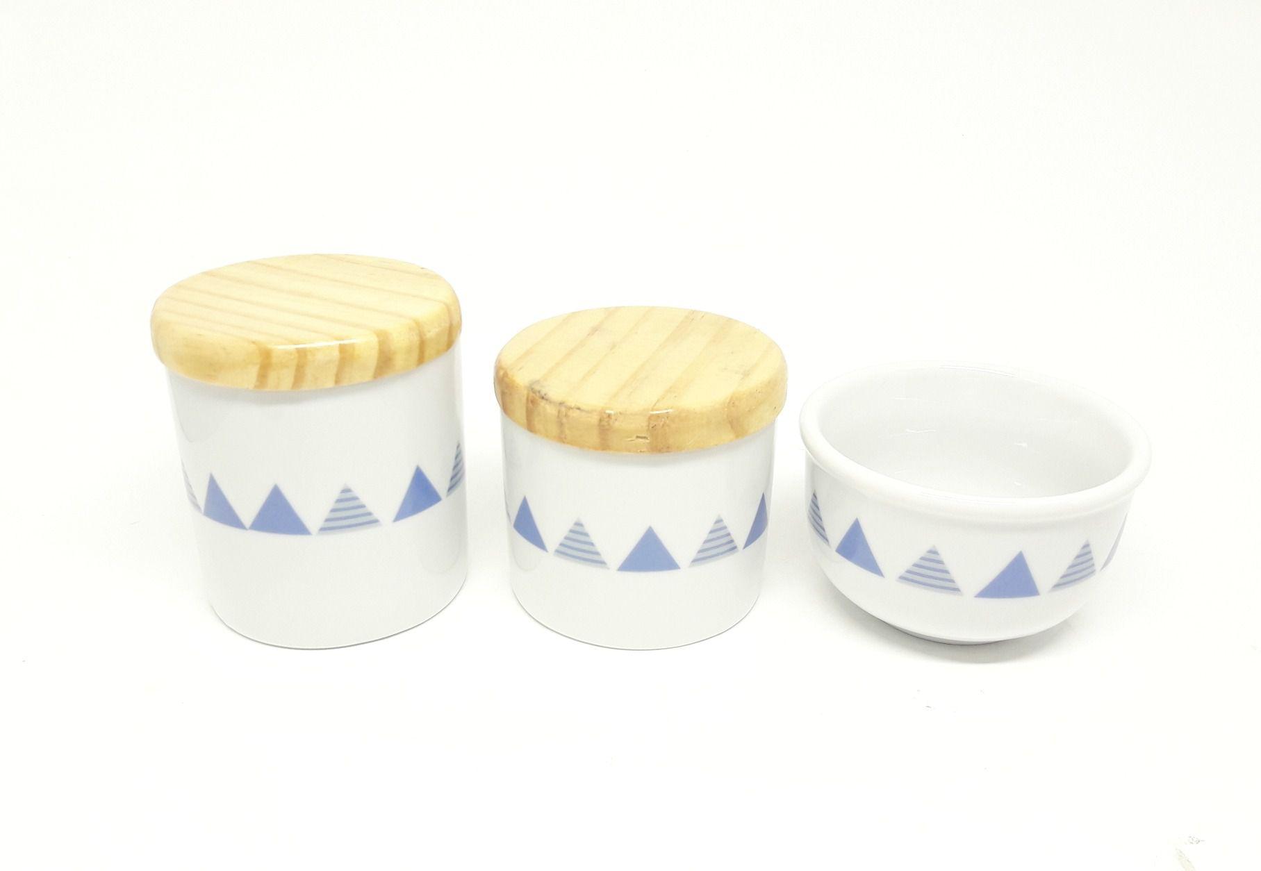 Kit Higiene Bebê Porcelana Geométrico|Triângulos| Bandeirinhas| Tampas Madeira Pinus