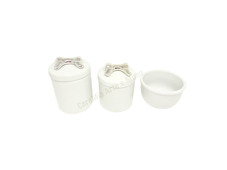 Kit Higiene Bebê Porcelana | Laço e Lacinho Prateado | Metalizado | 3 peças