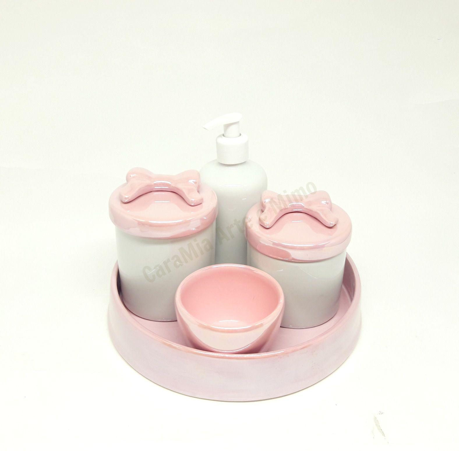 Kit Higiene Bebê Porcelana | Laço Rosa Perolizado| 4 peças
